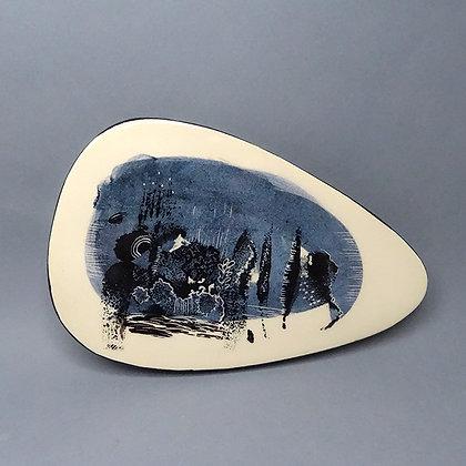 petit carreau céramique faïence design original bleu blanc noir
