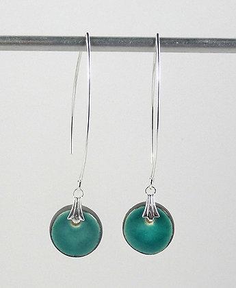 petites boucles rondes longues colorées turquoise crochet argenté ceramique