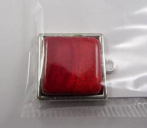 pendentif carré rouge perle céramique sertie sur métal argent