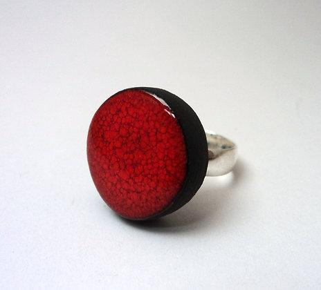bague moyenne ronde rouge moucheté en céramique réglable