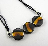 Petit collier jaune noir argenté miroir 3 perles rondes en céramique