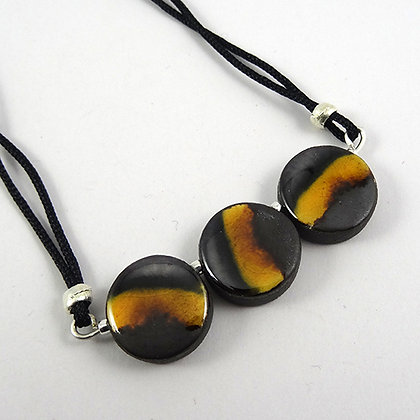 collier jaune noir argenté 3 perles rondes en céramique bijou femme artisanal