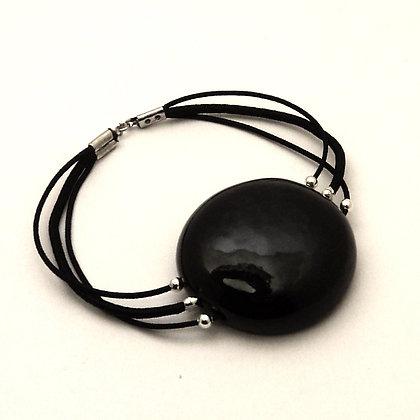 gros bracelet noir rond élastiques perle céramique