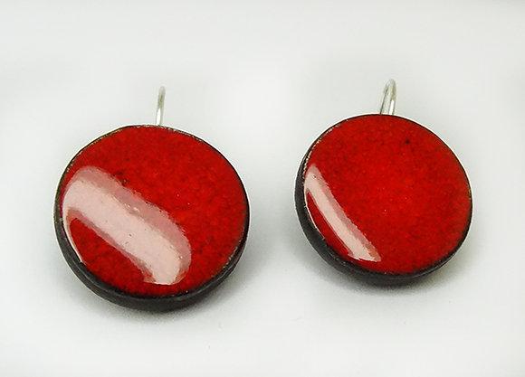 boucles d'oreilles rouge rondes pour femme en céramique