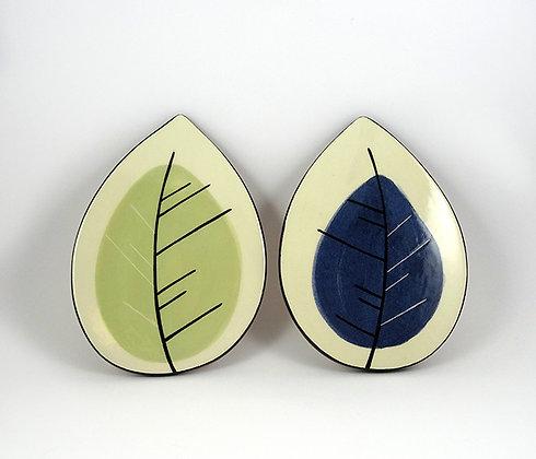 Sous-plat forme feuille carreau déco graphique en céramique design original