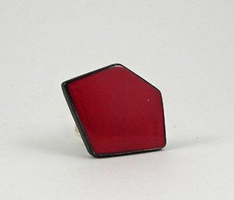 bague rouge forme géométrique grosse bague design céramique