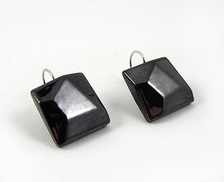 boucles d'oreilles carrées taillées en diamant biseautées en céramique
