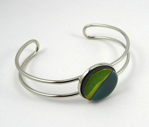 bracelet jonc vert argenté bijou céramique pour femme