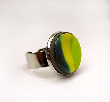 bague ronde vert rayures sur anneau serti argent réglable