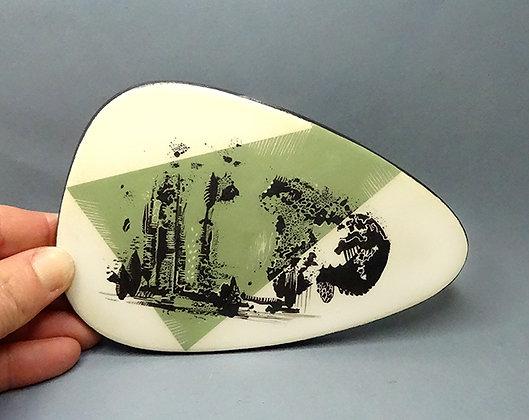 petit carreau déco en céramique design paysage abstrait vert noir blanc