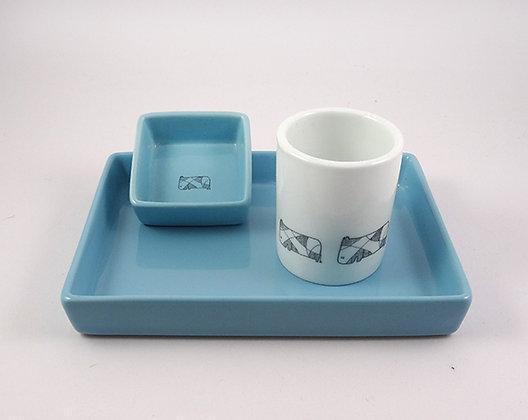 ensemble apéritif set coquetier bleu blanc en céramique