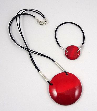 parure bijou femme collier bracelet rouge rond ceramique et coton noir
