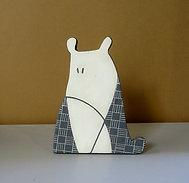 Petit chien animal graphique noir et blanc en céramique à poser