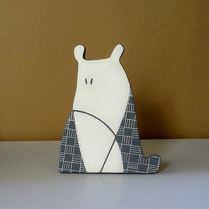 petit chien animal déco graphisme noir et blanc en céramique