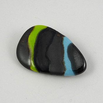broche design rayures vert bleu noir argenté forme années 50