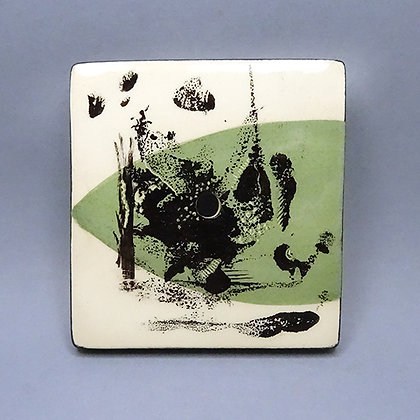porte-savon en faïence artisanal vert noir blanc motif abstrait design