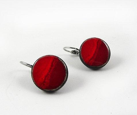 petites boucles d'oreilles rouge rond dormeuses rouge pili ceramique