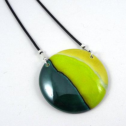 collier en céramique rond vert bijou original de créateur Pili-Pok Lyon