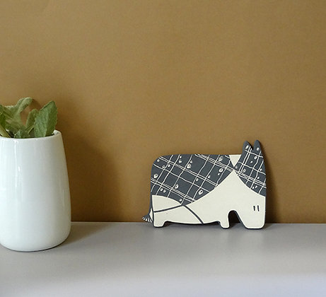 petit âne graphique en céramique décorée noir et blanc animal bestiaire