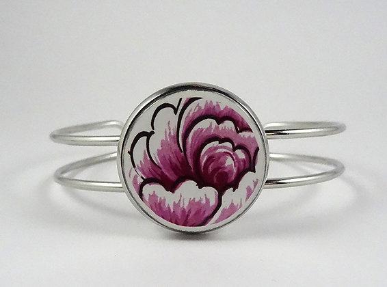 bracelet jonc avec perle ronde rose fuschia en céramique motif floral
