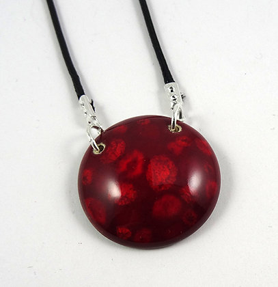 pendentif rond rouge à pois rouge bordeaux framboise en céramique