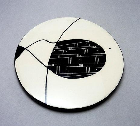 Sous-plat rond graphique noir et blanc