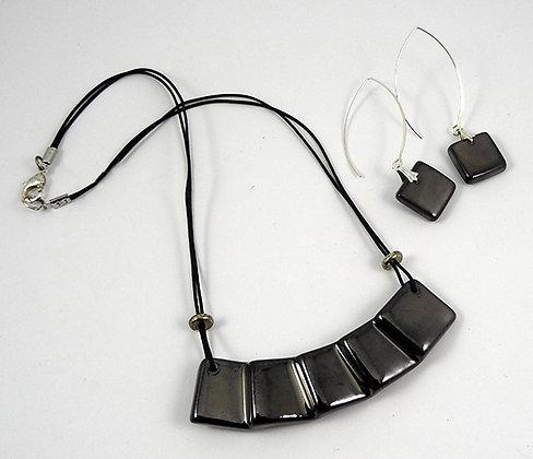 parure bijoux collier boucles d'oreilles argent noir pour femme