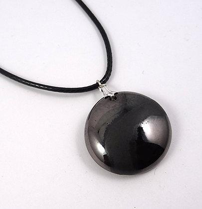 pendentif rond noir argent brillant chic en ceramique