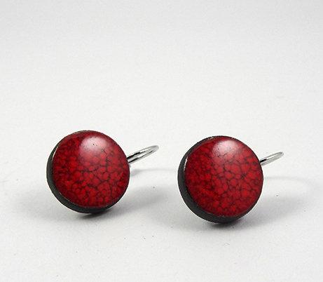 petites boucles d'oreilles rondes rouge dormeuses ceramique