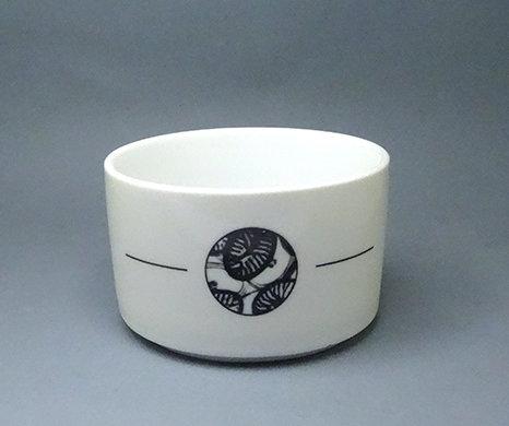 mini saladier rond blanc porcelaine avec graphisme végétal noir