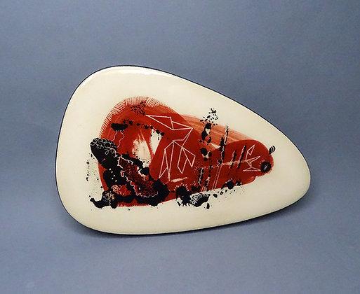 sous-plat artisanal en céramique design contemporain rouge noir blanc