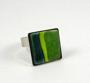 bague colorée carré vert sapin anneau argent bijou design céramique