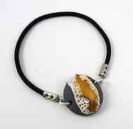 Bracelet rond en céramique gris blanc doré à élastique