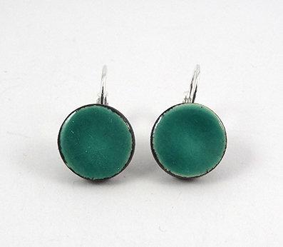 Boucles d'oreilles en ceramique turquoise rondes dormeuses