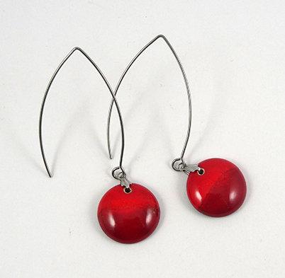 boucles d'oreilles rondes rouge longues crochet argent design céramique