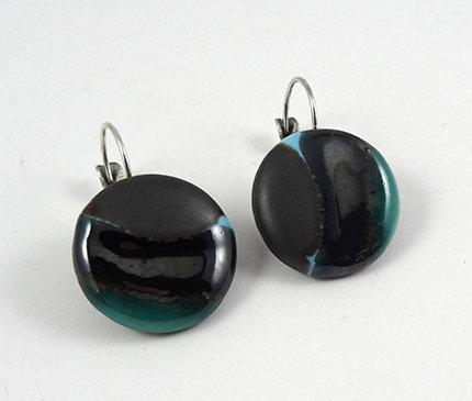 Boucles rondes argenté noir bleu dormeuses style bonbon sans sucre