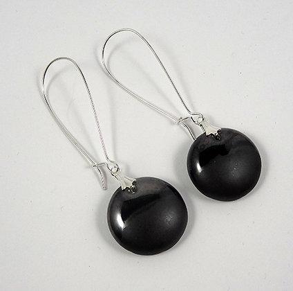 boucles d'oreilles rondes longues noir brillant gris métal mat ceramique