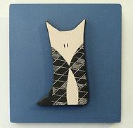 Cadre bleu avec petit renard graphique en relief en céramique