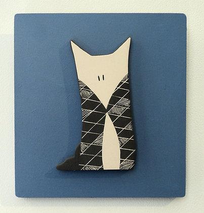 petit renard graphique noir et blanc sur cadre bois bleu déco chambre enfant