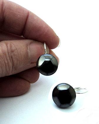 petites boucles d'oreilles forme diamant noir brut dormeuse argentée