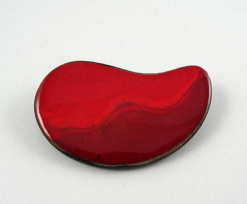 grande broche ovale courbe rouge strates bijou design céramique