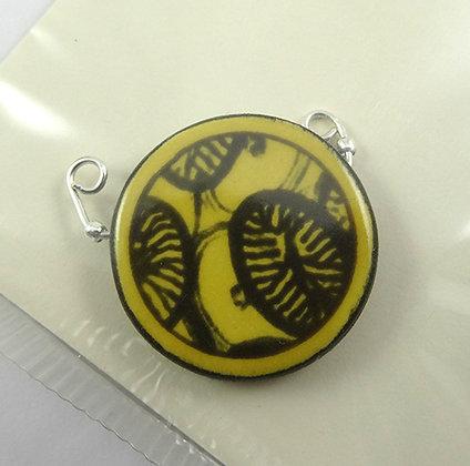 pendentif rond jaune pour collier perle céramique motif végétal noir