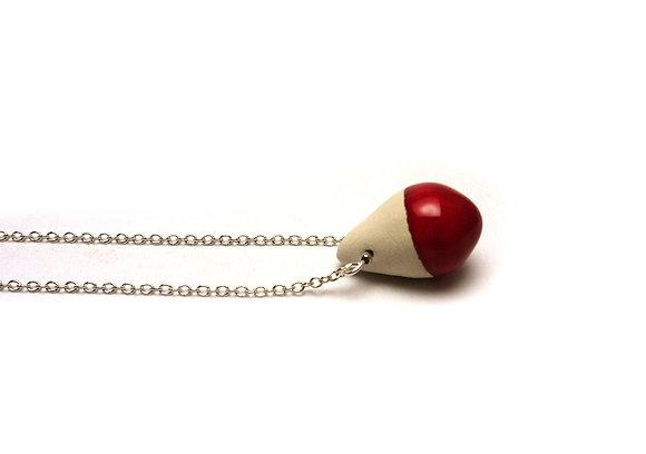 petit pendentif goute rouge et blanc simple et fin en céramique