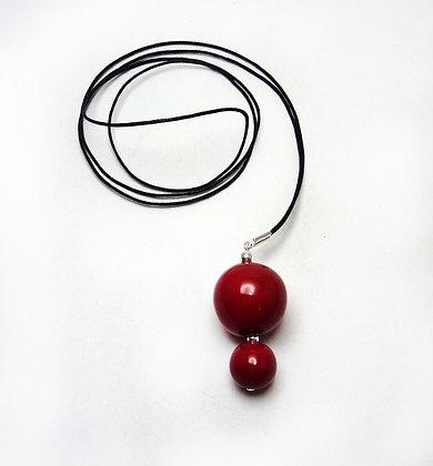 Collier long, sautoir rouge 2 perles rondes en céramique