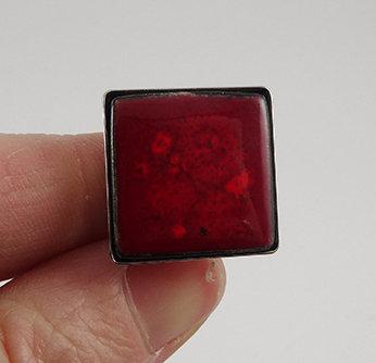 Bague en céramique carrée rouge bordeaux bague réglable femme