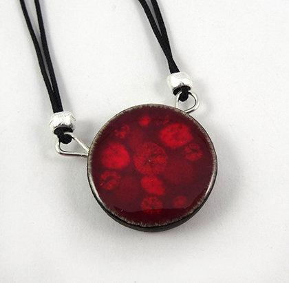 petit collier à pendentif rond rouge pois bordeaux perle en céramique émaillée