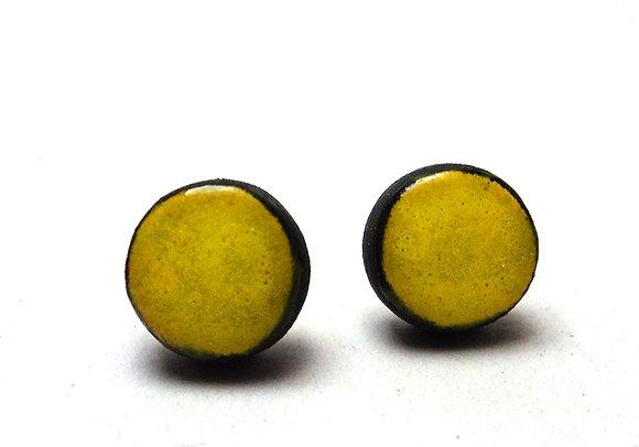 petits clous d'oreilles vert citron ronds en céramique