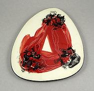 Dessous de plat en céramique design original rouge noir blanc illustré