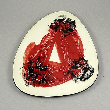 dessous de plat design céramique contemporain rouge dessins noirs blanc