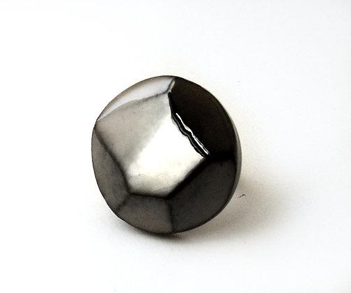 bague ronde forme diamant noir brut taillé noir brillant en céramique